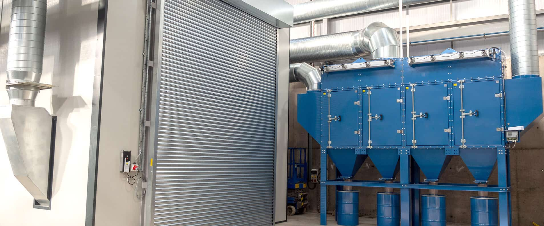 Blast room roller door outside