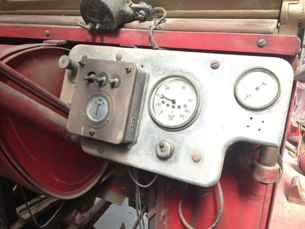 Original Cummins fire engine original controls close up